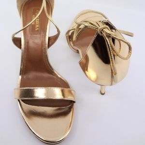 "Aquazzura Linda Mirror Gold Leather Sandal 3"" Heel"